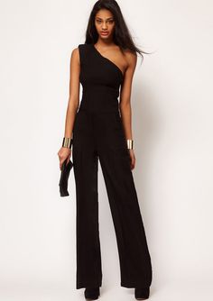 Sexy One Off Shoulder Jumpsuit Elegant Women Summer Chiffon Long Empire Romper Plus Size Bodysuit Playsuit Overall Macacao 2017 Black Overalls, Black Romper, Black Jumpsuit, Overalls Style, Long Overalls, Rompers Women, Jumpsuits For Women, Elegant Woman, Womens Fashion