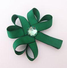 Shamrock ribbon hair clip
