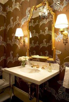 Guest half-bath?  Chinoiserie Chic: Scalamandre Zebras