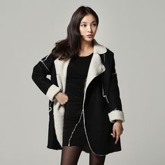 Korean mannish fashion long coats for women. Shearling and synthetic leather outerwear for winter season. Korean trendy clothing for stylish girls.
