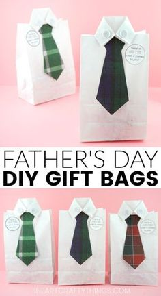 This DIY Father's Day gift bag is a simple and clever way to give dad or grandpa a favorite treat on Father's Day or use it to wrap up a special Father's Day gift. #fathersday #fathersdaycrafts #fathersdaygifts #iheartcraftythings