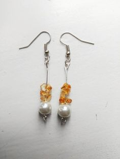 Pearl and citrin earrings by GemesisJewels on Etsy