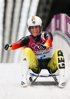 Natalie Geisenberger of Germany celebrates winning gold medal in the Women's Luge Singles (c) Getty Images Olympic Winners, Bobsleigh, Luge, Winter Games, World Of Sports, Sled, Olympic Games, Olympics, Sports