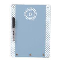Stylish Slate Blue & White Polka Dot Monogram