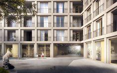 """3D Visualisierung für einen Architektur Wettbewerbsbeitrag für Wohnungsbauten im Quartier """"La Concorde"""" in Genf von TRIBU. Architecture Visualisation loomn 3D Visual Illustration Archviz Render Office"""