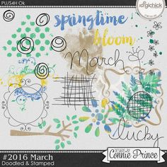#2016 March - Doodles & Stamps by Connie Prince. Includes 20 doodle & stamp elements. Saved in PNG format. Scrap for hire / others ok.