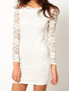 Does this look too bridal to wear to a cocktail party?  White Boat Neck Long Sleeve Embroidery Lace Dress, Good idea for the reception.
