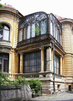 Macca house in Bucharest, Romania, Art Nouveau Architecture, Art And Architecture, Architecture Details, Vintage Architecture, Abandoned Mansions, Abandoned Buildings, Abandoned Places, Little Paris, Bucharest Romania