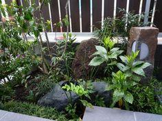 水鉢 と 灯篭(和風ローボルトライト)で迎える 坪庭