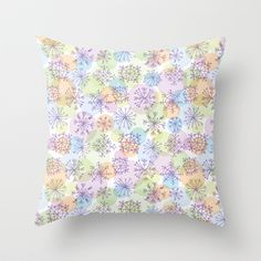 pattern with purple snowflakes on light background Throw Pillow by EkaterinaP - $20.00