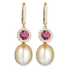 Eli Jewels Dangling South Sea Pearl & Rubellite Earrings (50.685 ARS) ❤ liked on Polyvore featuring jewelry, earrings, 18k earrings, pink tourmaline jewelry, south sea pearl earrings, dangle earrings and 18 karat gold earrings