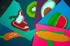 Six handmade screen printed colorful postcards of fruits and vegetables