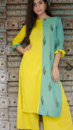 Brilliant play with prints and plain with color combination. Paired with Plazo Pant. Light weight cotton kurti with trims detailing on sleeves. A-line kurta with airy cotton is perfect for casual days to feel comfortable and easy. Silk Kurti Designs, Designer Kurtis Online, Kurti Styles, Stylish Kurtis, Casual Work Attire, Fancy Kurti, A Line Kurta, Pakistani Fashion Casual, Designs For Dresses