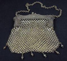 Vintage German Silver Mesh Purse / Handbag
