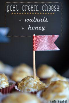 Goat cream cheese truffles with walnut and honey