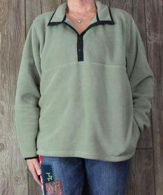 LL Bean Fleece Jacket XL size Womens T Snap Light Green Pockets All Season Lightwieght