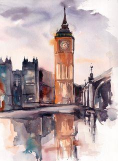 Big Ben London Painting ORIGINAL watercolor painting от CanotStop