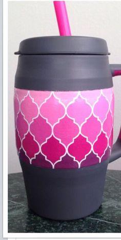 Super cute bubba keg with pink ombré quatrefoils