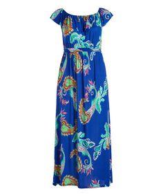 Turquoise & Aqua Paisley Off-Shoulder Ruffle Maxi Dress - Plus | zulily