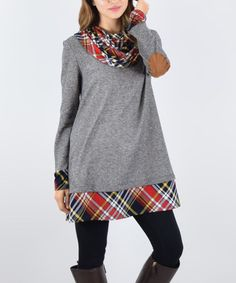 Look what I found on #zulily! Charcoal Plaid French Terry Cowl Neck Tunic #zulilyfinds
