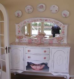 love the mosaic top of this shabby chic buffet
