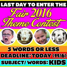TODAY, 11/6 at 5pm, is the LAST DAY to submit your 2016 AV Fair & Alfalfa Festival (8/19 to 8/28/2016) theme ideas!