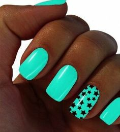 Neon Green With Black Star Accent Nails super cool also in a laser tag room!