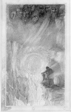 Alan Lee LOTR Sketchbook Use of eraser for an interesting look