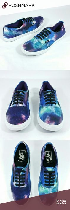 """Vans Off the Wall multicolor Canvas Wo's 7 Shoes Excellent Pre-owned Conditions """" Cosmic Galaxy"""" Off the Wall VANS low top. women's Sz 7 men's size 5.5 please see pics for details. Vans Shoes Sneakers"""