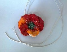 Ceramic poppy pendant, red poppy
