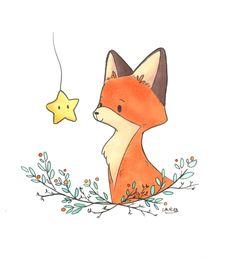 fox and star Art Print by laures Art Drawings Sketches, Cute Drawings, Baby Animal Drawings, Cute Fox Drawing, Animal Doodles, Christmas Drawing, Fox Art, Star Art, Disney Wallpaper