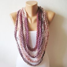 Infinity Plum  Scarf Loop Necklace Endless Rope Thick by dimana, $28.00