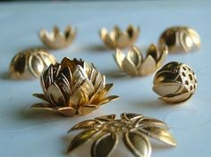 16 pieces of Gold Plated Lotus Bead Caps  15 mm by GSboutique, $3.00
