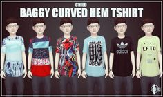 Curved Hem Baggy T-Shirt at Onyx Sims via Sims 4 Updates