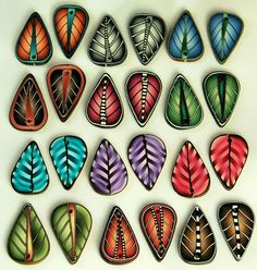 Set+of+24+Polymer+Clay+Leaf+Beads++12+Matching+Sets+by+ikandiclay,+$16.00