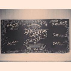 BAR CARILLON  Italian restaurant bar, It takes 3min from KAJIGAYA Sta. on foot.  #chalkboy