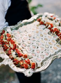 Japanese rolls and some cheese and sun dried tomato skewers are a creative combo of wedding appetizers Wedding Entrees, Wedding Appetizers, Wedding Foods, Vegan Appetizers, Appetizer Recipes, Spring Wedding, Garden Wedding, Sushi Platter, Wedding Vase Centerpieces