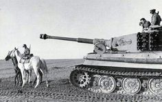 Late model Tiger 1 nr. 300 along with soldiers on horseback