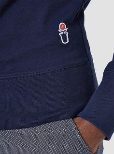 Crewneck Pique Sweatshirt Navy
