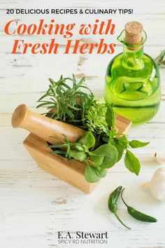 Cooking with fresh herbs is a delicious ways to add tons of flavor to your recipes. Fresh herbs are super healthy too-rich in antioxidant and phytochemicals to boost your health. Learn more about the health and culinary benefits of cooking with fresh herbs   get 20 delicious recipes (all gluten free) to try! EA Stewart, MBA, RD Spicy RD Nutrition Healthy Meals To Cook, Good Healthy Recipes, Healthy Cooking, Delicious Recipes, Cooking Recipes, Yummy Food, Cooking Tips, Cooking With Fresh Herbs, Cooking Herbs