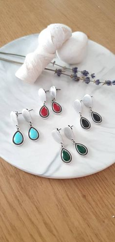 Excited to share this item from my #etsy shop: Dainty Stud Colorful Earrings, Silver Enamel Drop Earrings, Silver Stud Earrings with Green/Blue/Black/Red Enamel, Everyday Simple Earrings Simple Earrings, Silver Earrings, Drop Earrings, Silver Enamel, Etsy Earrings, Favorite Color, Handmade Jewelry, Etsy Shop, Colorful