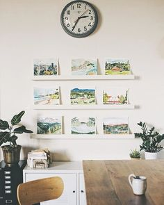 Art wall in the #officestudio will always hold a special place in our hearts ✨via @wideeyespaperco | Schoolhouse Clock