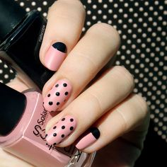 Black & Nude Polka Dots