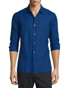 Melrose Linen-Blend Sport Shirt, Dark Blue by Vince at Neiman Marcus.