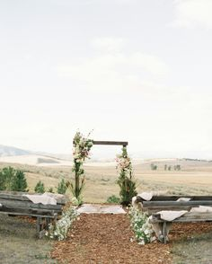 Rustic outdoor wedding ceremony: http://www.stylemepretty.com/2017/02/21/a-wedding-shoot-inspired-by-hit-movie-legends-of-the-fall/ Photography: Jeremiah and Rachel - http://jeremiahandrachel.com/