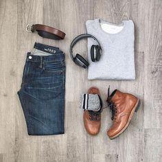 WEBSTA @ menslifestyle247 - Relaxed Grid •Crewneck, belt: @frankandoakDenim: @gapBoots: @redwingheritage Socks: @fourfiftyfiveto / @sprezzabox •••Style by : @mitchyasui #