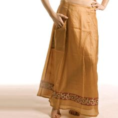 Shubrah, Savan Long Honey Silk Embroidered Skirt, Size S