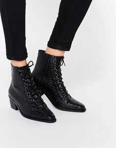 Image 1 ofASOS ARIANA Leather Lace Up Ankle Boots