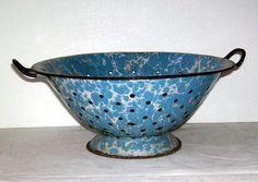 Vintage Blue and White Speckled Enamel Graniteware Colander