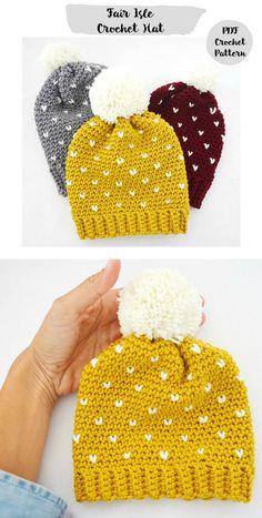 Crochet Pattern Fair Isle Slouchy Beanie Hat cappello fatto a mano   6fc3772d1640